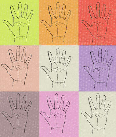 Grid of hands in multi-colored squares