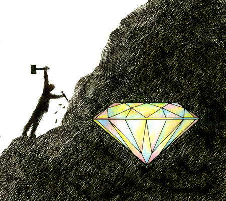 Person mining diamond