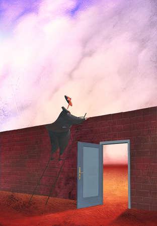 Businessman peering over wall with open door