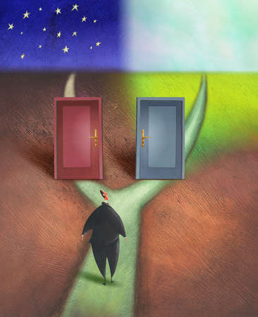 Businessman examining doors on forked path