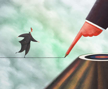 Businessman drawing tightrope for colleague