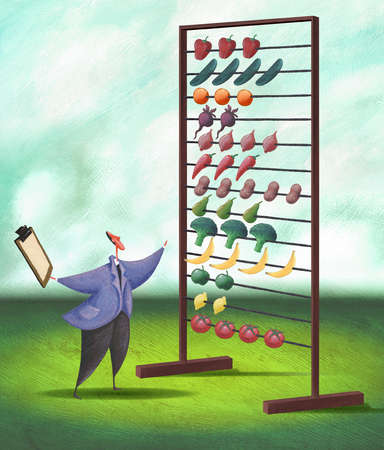 Businessman counting food on abacus