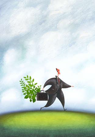 Businessman carrying plants in briefcase