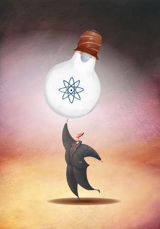 Businessman holding nuclear powered light bulb
