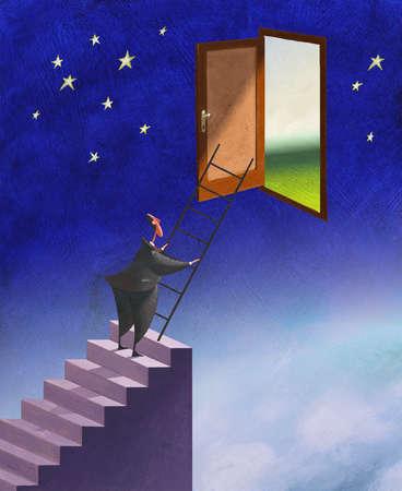 Businessman climbing ladder to door in sky