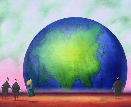 Business people examining globe
