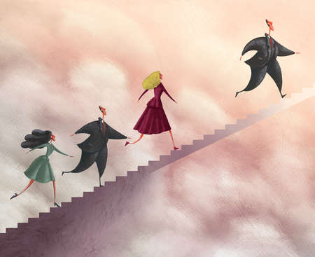 Business people climbing steps in sky