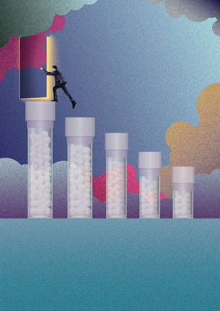 Businessman climbing pill jars to open door in sky