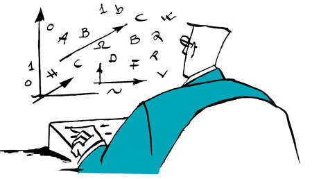 Businessman using computer with mathematical symbols