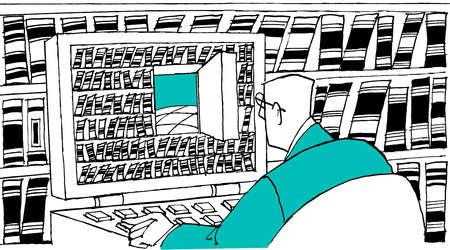 Businessman examining open door on computer screen