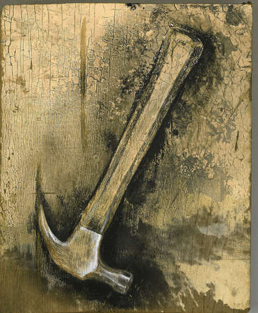 Hammer on old wood background