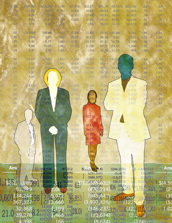 Colorful silhouettes of Business colleagues and co-workers standing together in front of financial data
