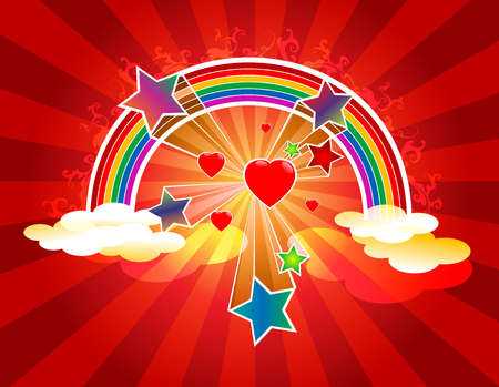 Rainbow with hearts and stars