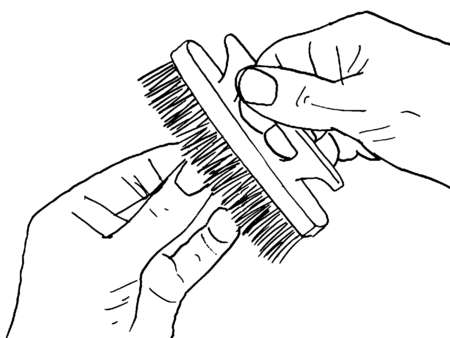 Close up of hands holding fingernail brush