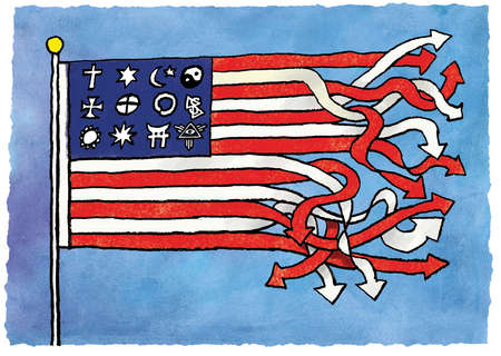 Religious symbols and entangled arrows forming American flag
