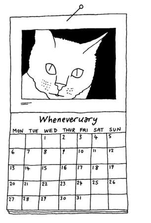 Wheneveruary calendar with cat photograph