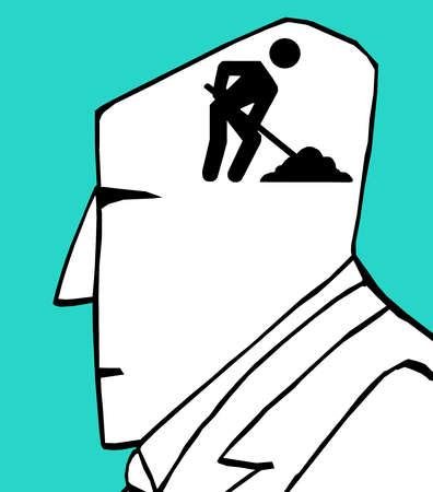 Man digging inside businessman's head