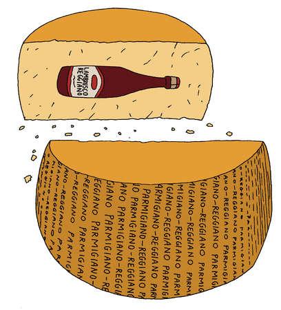 Bottle of red wine inside parmigiano reggiano cheese wheel