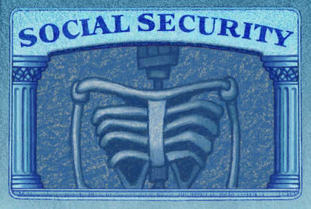 Social Security card with Picture of Skeleton