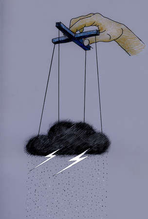 Puppeteer holding storm cloud with lightning on strings