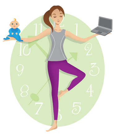 Mother in yoga tree pose balancing baby and laptop in front of clock