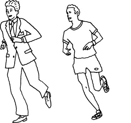 Businessman running alongside jogger