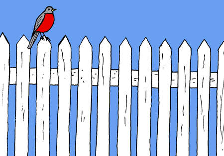 Bird on picket fence