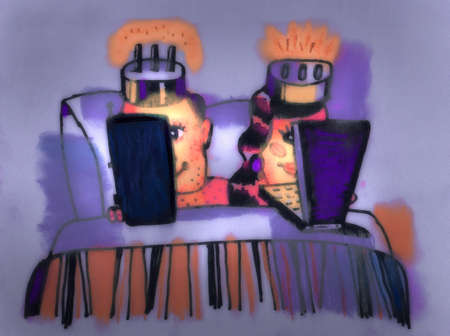 Couple with plug heads using digital tablet and laptop in bed