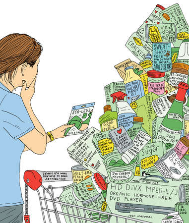 Woman with shopping cart full of labeled products