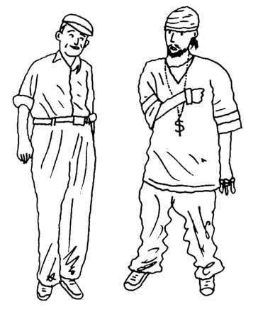 Senior man next to young man in baggy clothing