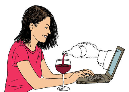 Dotted arm from laptop pouring red wine into woman's wine glass