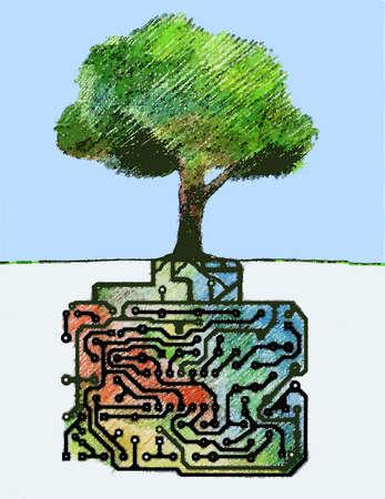 Circuit board roots growing underneath tree