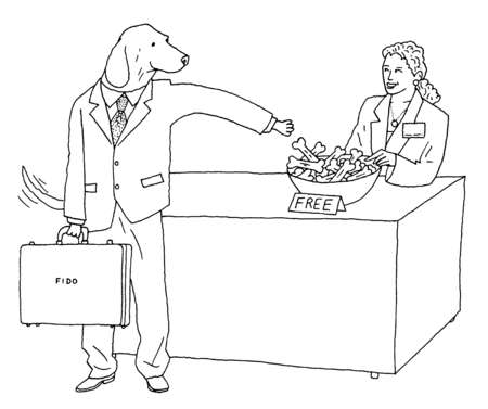 Dog in business suit reaching for free bones on counter