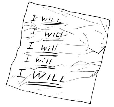 Paper with I Will text