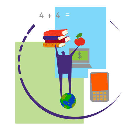 Man holding books and apple on globe surrounded by technology and equation