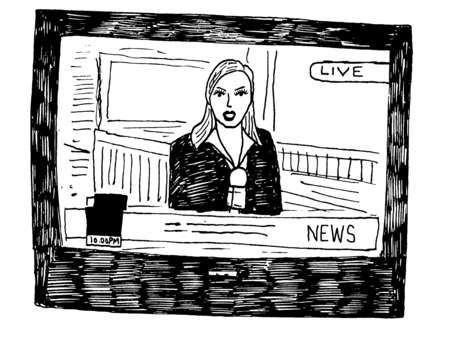 Female news reporter on television