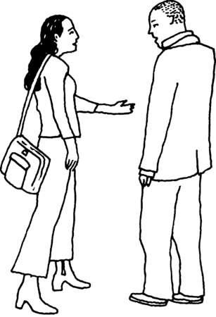 Woman extending hand to man