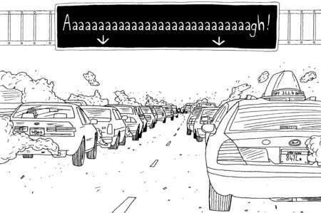 Aaaaaaaaaaagh sign above traffic on roadway