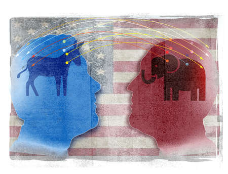 Two colorful male silhouette profiles with Democratic and Republication symbols and American flag.