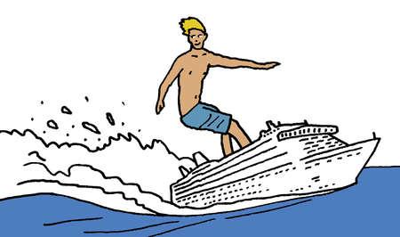 Man surfing on cruise ship