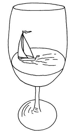 Sailboat floating in wine glass