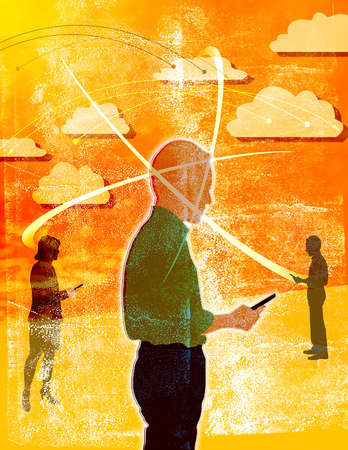 Silhouettes of people using smart devices to connect to each other through cloud computing with information graphics.