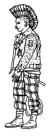 Boy with mohawk and funky clothing