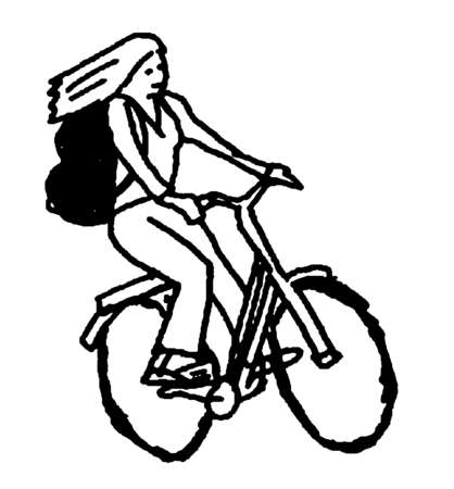 Woman with backpack riding bicycle