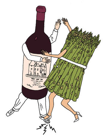 Anthropomorphic asparagus stepping on foot of anthropomorphic wine bottle