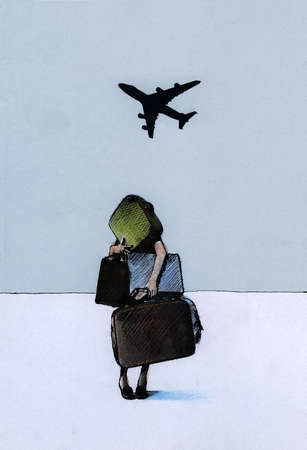 Woman with suitcases looking up at airplane in sky