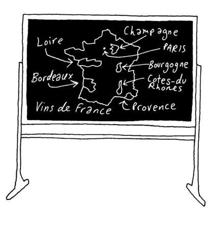 Regions of France identified on blackboard