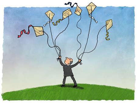 Businessman flying multiple finance kites