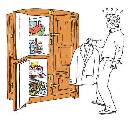 Question marks above man with suit jacket standing before open refrigerator
