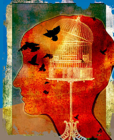 colorful silhouette of young boy/girl's head with open bird cage with birds flying out.